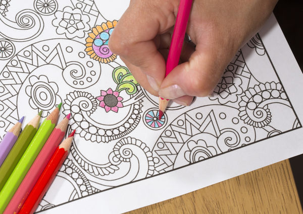 Adult coloring with colored pencils